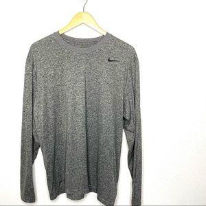 Nike Dri Fit Long Sleeve Heathered Grey Tee